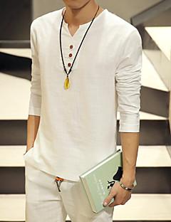 Men's Fashion Comfortable Buttons V Collar Slim Fit Long-Sleeve Cotton T-Shirt