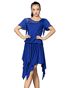 Latin Dance Outfits Women's Training Lace / Tulle / Milk Fiber Crystals/Rhinestones / Lace 2 Pieces Blue Latin Dance Skirt / Top