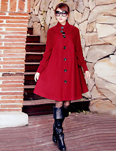 Women's Patchwork Red / Black Coats & Jackets , Casual Stand Long Sleeve