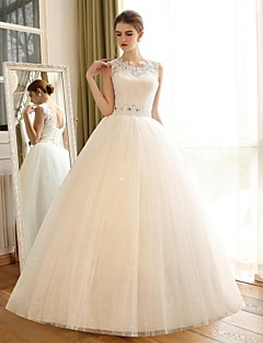 A-line Wedding Dress Sparkle & Shine Floor-length Jewel Lace Satin Tulle with Appliques Lace