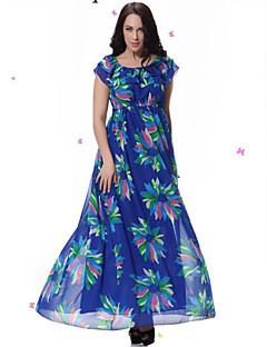Damen Kleid - Übergrößen Übergröße / Strand Druck Midi Elasthan Rundhalsausschnitt