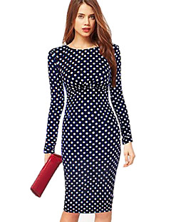 Women's A-Line Polka Dots Bodycom Long Sleeve Dress