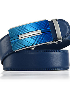 Men's Genuine Leather Ratchet Belt Business Blue Belts