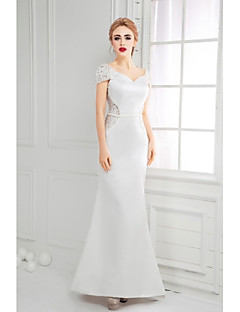 Formal Evening Dress A-line V-neck Floor-length Lace / Satin with Lace / Pearl Detailing
