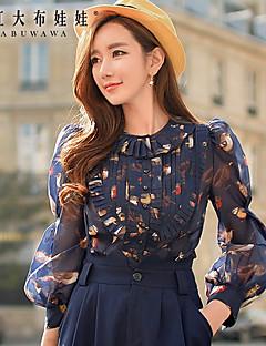 Women's Flare Sleeve Bird Printed Blue Shirt,Ruff Collar Long Sleeve Tops
