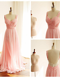 Formal Evening Dress - Beautiful Back Ball Gown Straps Sweep / Brush Train Chiffon with Criss Cross