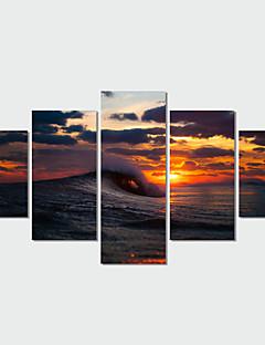 Set Canava Peisaj Modern Tradițional,Cinci Panouri Orizontal Imprimeu Decor de perete For Pagina de decorare