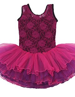 Ballet Dresses Children's Performance Cotton / Spandex Cascading Ruffle / Flower(s) 1 Piece Burgundy Performance Backless Sleeveless Dress