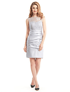Lanting Sheath/Column Mother of the Bride Dress - Silver Short/Mini Sleeveless Lace / Satin