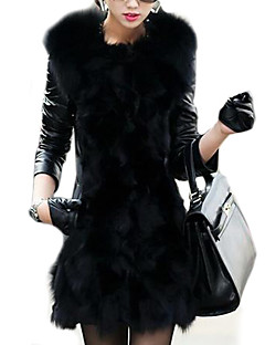 Women's Winter Fox Fur Leather Coat
