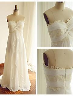 A-라인 웨딩 드레스 스윕 / 브러쉬 트레인 스윗하트 쉬폰 / 레이스 와 크리스-크로스 / 레이스