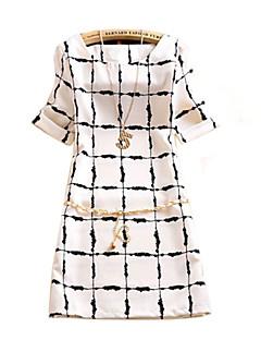 Women's Check White/Purple Dress , Casual/Print Round Neck Short Sleeve Flower