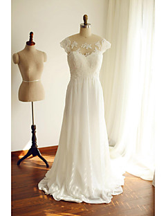 A-line Wedding Dress Court Train Scoop Chiffon / Lace with Beading / Bow / Lace