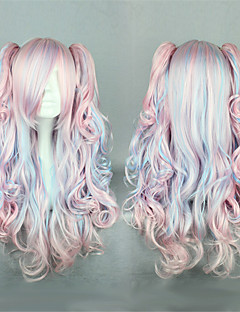Lolita Wigs Sweet Lolita Color Gradient Long Pink / Blue Lolita Wig 60 CM Cosplay Wigs Patchwork Wig For Women