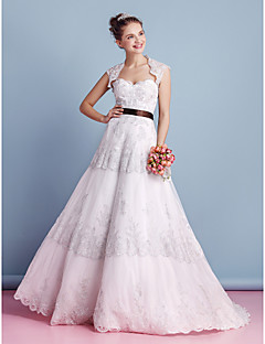 A-line Wedding Dress-Ivory Sweep/Brush Train Sweetheart Lace