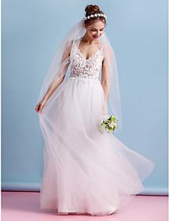A 라인에게 웨딩 드레스를 lanting - 아이보리 층 길이 스파게티 스트랩 레이스 / 얇은 명주 그물