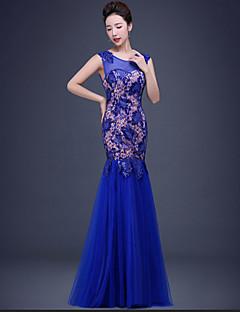 저녁 정장파티 드레스 - 루비 / 로얄 블루 트럼펫/머메이드 바닥 길이 V-넥 레이스 / 명주그물 / 반짝이