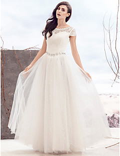 A-line Wedding Dress Floor-length Scoop Lace with Beading