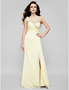Prom / Formal Evening / Military Ball Dress - Plus Size / Petite Sheath/Column One Shoulder / Sweetheart Floor-length Chiffon