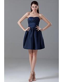 lanting kurz / Mini-Taft Brautjungfer Kleid - dark navy Kugel trägerlosen Kleid