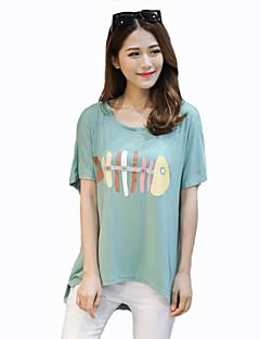 Vrouwen Grote maten Zomer T-shirt,Casual/Dagelijks Print Ronde hals Korte mouw Blauw / Groen Katoen Medium