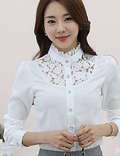Vrouwen Grote maten Alle seizoenen Overhemd,Casual/Dagelijks Effen Opstaand Lange mouw Wit Polyester Medium