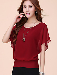 Mulheres Camiseta Decote Redondo Manga Curta Sólido Poliéster Mulheres