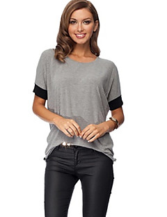 Women's Color Block Black / Gray T-shirt , Round Neck Short Sleeve