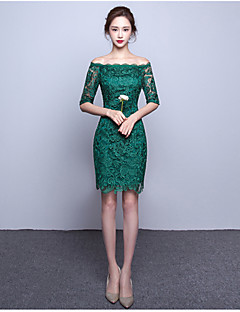 Cocktail Party Dress-Clover A-line Bateau Knee-length Lace