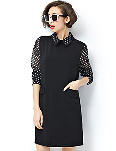 Women's Vintage / Simple Polka Dot Plus Size / Shift Dress,Peter Pan Collar Above Knee Polyester / Spandex