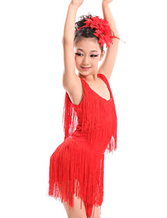Latin Dance Dresses Children's Performance Spandex Milk Fiber Tassel(s) 2 Pieces Dress Headpieces S:60 M:62 L:64 XL:66 XXL:69 XXXL:74