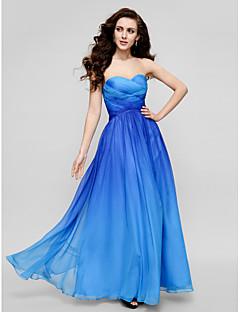 포멀 이브닝 드레스 - 컬러 그라데이션 시스 / 칼럼 끈없는 스타일 바닥 길이 쉬폰 와 크리스 크로스