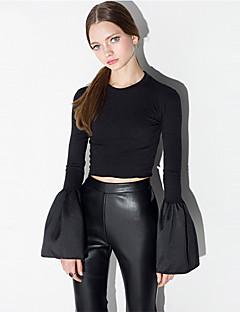 Tee-shirt Aux femmes Ouvert Manches Longues Col Arrondi Polyester