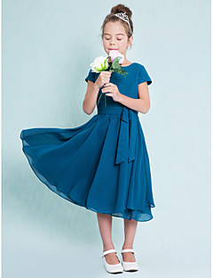 Tea-length Chiffon Junior Bridesmaid Dress-Ink Blue A-line Jewel