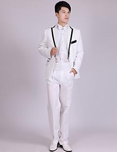 חליפות גזרה מחוייטת פתוח Single Breasted One-button פוליאסטר פסים 4 חלקים שחור / לבן