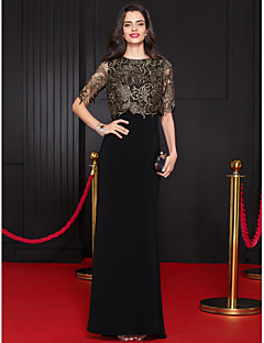 TS Couture Formal Evening Dress - Multi-color Trumpet/Mermaid Scoop Floor-length Lace / Jersey