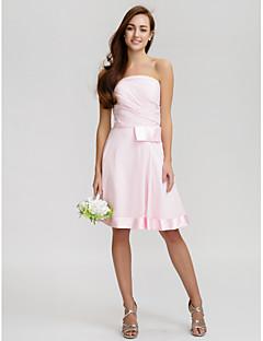 lanting genou robe en mousseline de demoiselle d'honneur - rose rougissant-ligne bretelles