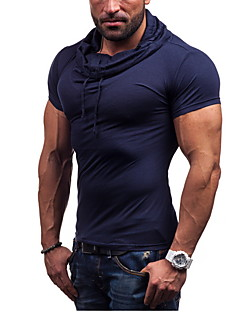 Men's Sports Casual/Daily Simple T-shirt,Solid Short Sleeve Cotton