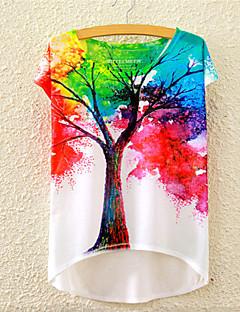 Alla årstider Blommig Kortärmad T-shirt,Gullig Aktiv Rund hals Bomull Medium Flerfärgad