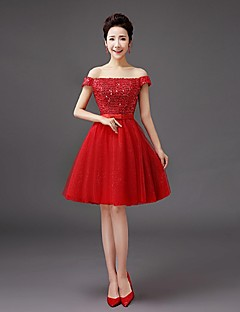 Knee-length Sequined Bridesmaid Dress - A-line Off-the-shoulder with Bow(s) / Sequins