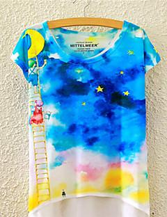 T-Shirt Da donna Fantasia floreale Rotonda Manica corta Cotone