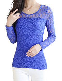 Spring Plus Size Women's Lace Hollowing Round Neck Long Sleeve Slim Bottoming Shirt
