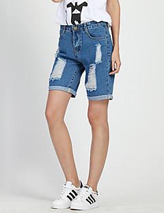 Mulheres Calças Casual / Moda de Rua Shorts Algodão Micro-Elástica Mulheres
