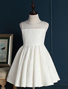 A-line Short / Mini Flower Girl Dress - Lace Sleeveless Jewel with