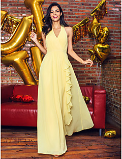 TS Couture® Formal Evening Dress - Daffodil Sheath/Column V-neck Ankle-length Georgette