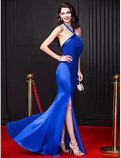 TS Couture® Formal Evening Dress Sheath / Column Halter Floor-length Chiffon / Stretch Satin with