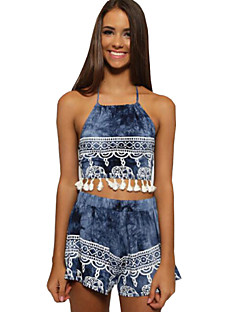 Women's Color Block Patchwork Backless Tassels Strap Sleeveless Blue Set