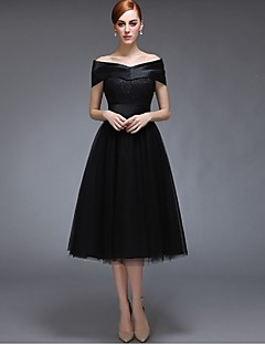 Tea-length Satin / Tulle Bridesmaid Dress A-line Off-the-shoulder with Lace