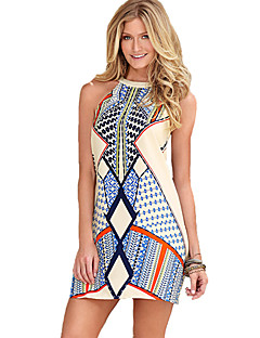 Women's Sexy / Boho Sheath Dress,Print Round Neck Above Knee Sleeveless Blue Polyester Summer Mid Rise