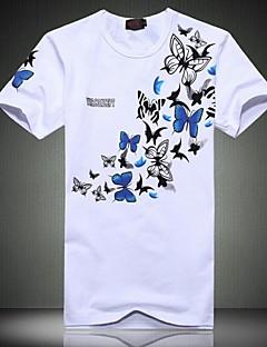 男性用 プリント カジュアル / プラスサイズ Tシャツ,半袖 コットン / ポリエステル,ブラック / ホワイト